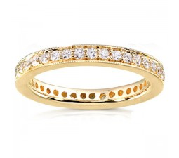 Antique Design Round Diamond Wedding Band for Women in Gold