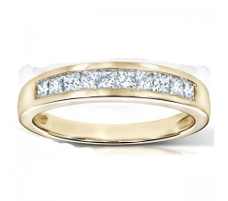 3/4 Carat Princess Channel Diamond Wedding Ring Band in Gold