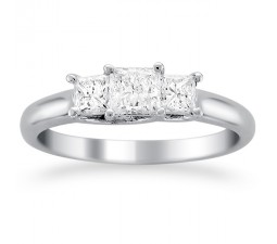 2 Carat Three Stone Princess Trilogy Engagement Ring in 14k White Gold