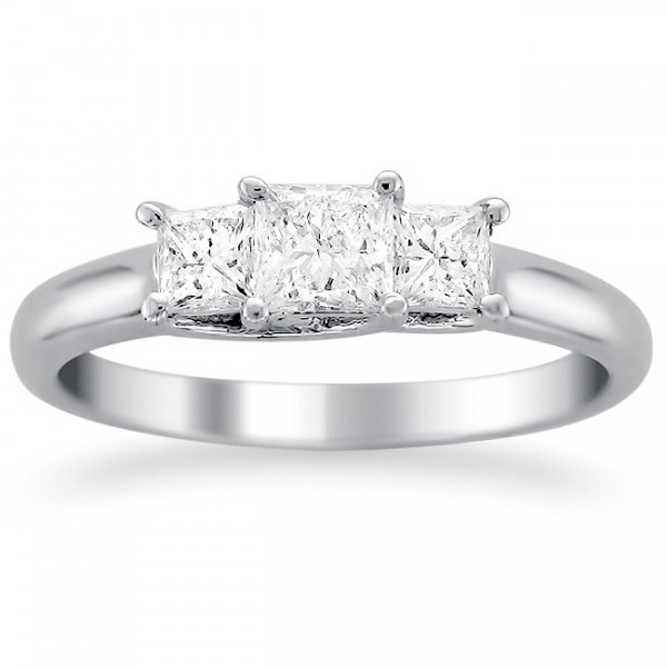 Unique Three Stone Trilogy Three Stone Engagement ring 2 Carat Princess Cut D