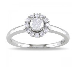 Round Halo Affordable Diamond Engagement Ring in White Gold