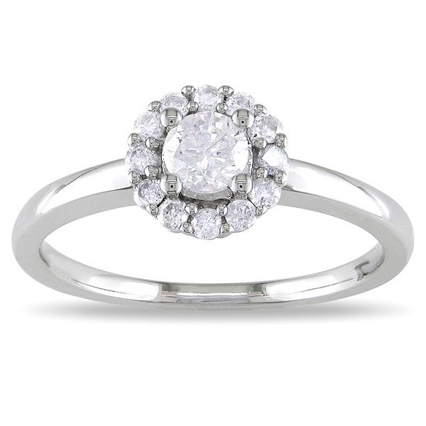 Precious Halo Cheap Engagement Ring 0 33 Carat Round Cut Diamond on White Gol