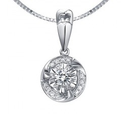 1/10 Carat Diamond Circle Pendant on 10k White Gold