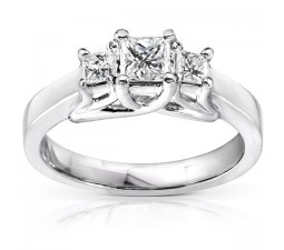 Three Stone Petite Princess Diamond Engagement Ring