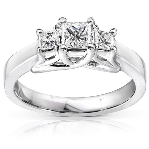 Three Stone Petite Princess Diamond Engagement Ring