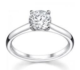 Beautiful 3/4 Carat Round Diamond Solitaire Engagemen Ring in 14k White Gold