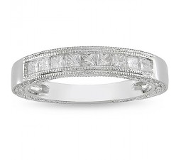 Antique Design Half Carat Princess Wedding Band in 14k White Gold