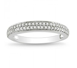 Half Carat Twin Row Diamond Wedding Band in White Gold