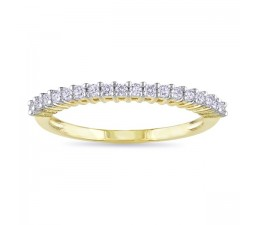 Prong Set Round Diamond Wedding Band in Yellow Gold