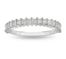 Half Carat Princess prong set Wedding Ring Band in White Gold