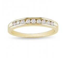 Beautiful affordable Round Diamond Yellow Gold Channel Set Band