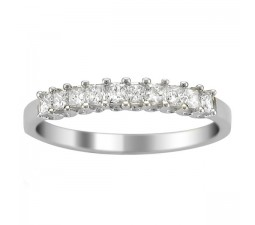 Princess prong set Diamond Wedding Ring Band in White Gold