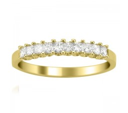 Princess prong set Diamond Wedding Ring Band in Yellow Gold