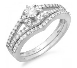 1 Carat Round Halo Diamond Bridal Set on Sale