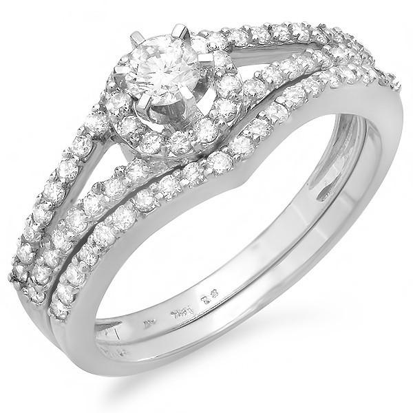 Pleasing Halo Diamond Wedding Ring set 1 Carat Round Cut Diamond on Gold Je