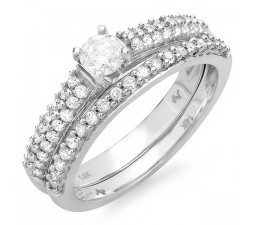 Twin Row Round Diamond Bridal Set in 14k White Gold