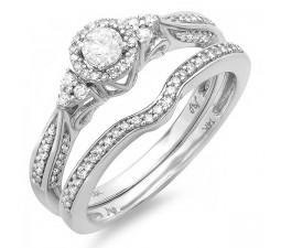 Classic 1 Carat Round Diamond Bridal Set in 14k White Gold