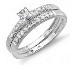 Classic 1/2 Carat Diamond Bridal Set in 10k White Gold