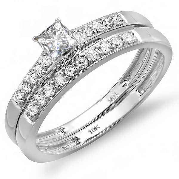 Classic 1/2 Carat Diamond Bridal Set in 10k White Gold