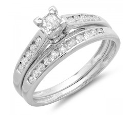 1 Carat Classic Beautiful Wedding Ring Set for Women in 10k White Gold