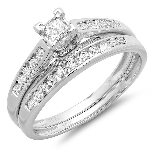 1 carat classic beautiful wedding ring set for women in 10k white gold - Affordable Diamond Wedding Rings