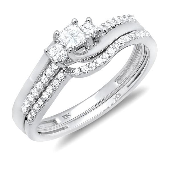 1 Carat Three Stone Princess Diamond Wedding Set in White Gold