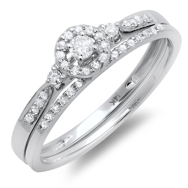 Inexpensive Halo Design Diamond Wedding Set for Her in White Gold