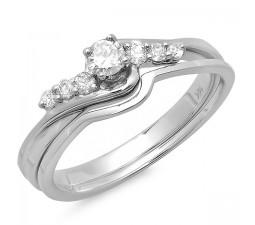 1/3 Carat Round Diamond Wedding Set in 10k White Gold