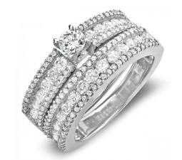 Luxurious 2 Carat Round Diamond Wedding Set in 14k White Gold