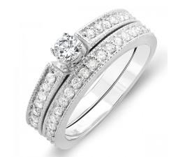 Half Carat Round Diamond Wedding Set in 10k White Gold