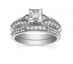 Vintage 1 Carat Princess Diamond Bridal Set for Women