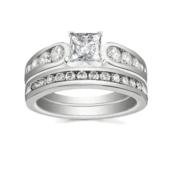Lovely Cheap Diamond Wedding Set 1 Carat Princess Cut Diamond on Gold JeenJ