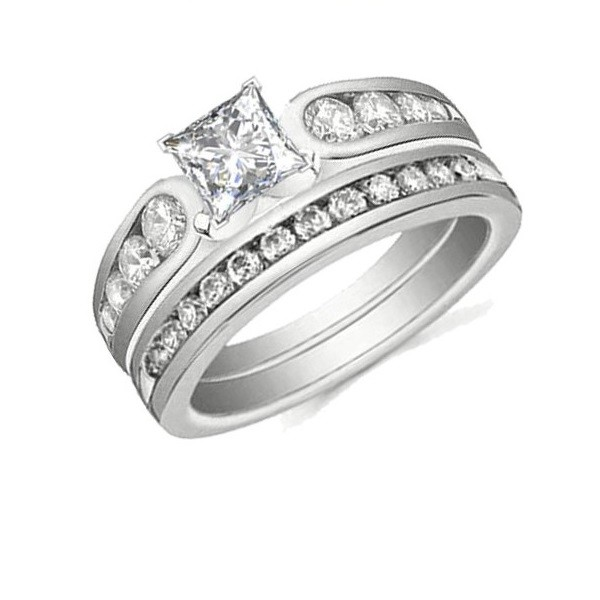 ... Sets  Bridal Sets  Beautiful 1 Carat Princess Wedding Ring Set on
