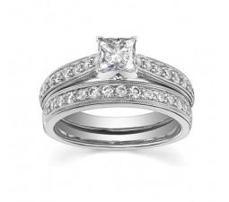 Vintage 1 Carat Diamond Wedding Ring Set