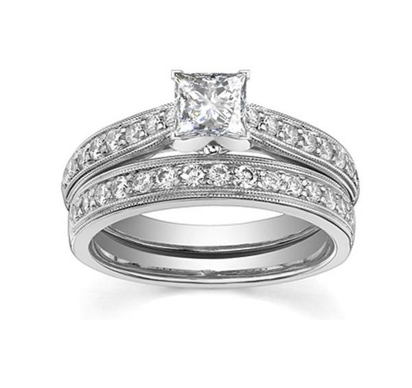 vintage 1 carat diamond wedding ring set - Inexpensive Wedding Ring Sets