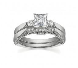 Antique Princess Diamond Wedding Ring Set