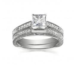Vintage 1 Carat Princess Diamond Wedding Ring Set