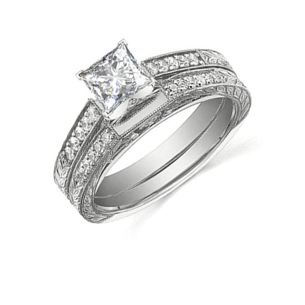 Handcrafted Vintage Cheap Diamond Bridal Set 1 Carat Princess Cut Diamond on