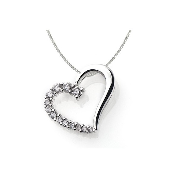 14 carat heart shape diamond pendant on 10k white gold jeenjewels 1 carat diamond pendant aloadofball Gallery