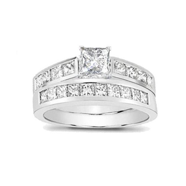 74472dae61cd18 Classic Diamond Wedding Set 2 Carat Princess Cut Diamond on Gold ...