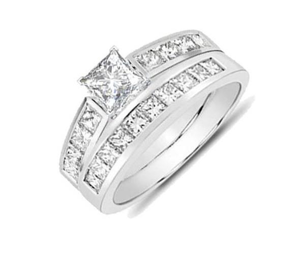 0f31095f3044bb closeout sale 2 carat princess diamond wedding set for her. huge 1 ...