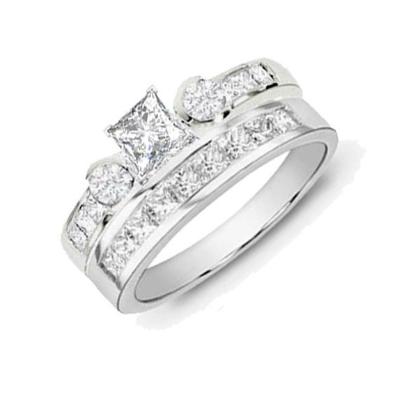 Unique Diamond Wedding Set 2 Carat Princess Cut Diamond on Gold JeenJewels