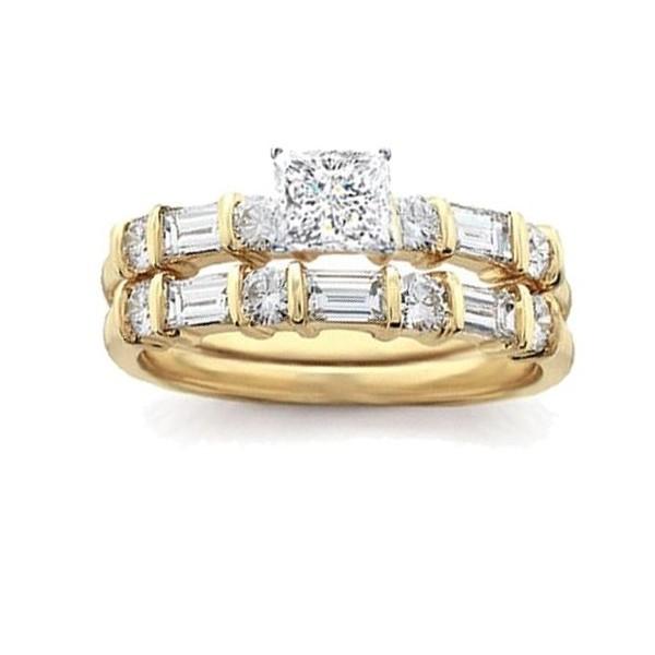 ...  Bridal Sets  2 Carat Princess Diamond Bridal Set in Yellow Gold