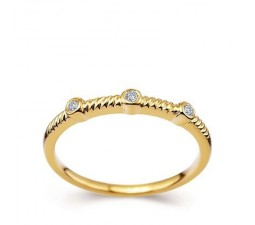 Past, Preset and Future, Three Stone Diamond Wedding Band on 14k Yellow Gold