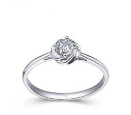 Flower Shape Diamond Solitaire Ring on 10k White Gold