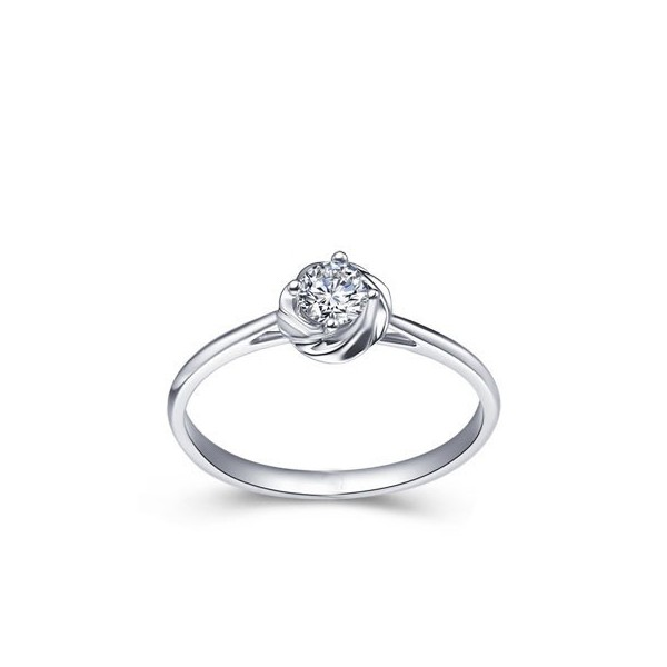 Lovely Flower Cheap Solitaire Diamond Ring 025 Carat Round Cut