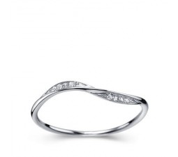 Beautiful Diamond Women Wedding Band on 10k White Gold