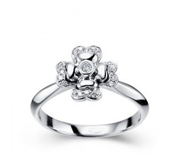 Flower Shape Diamond Ring on 10k White Gold