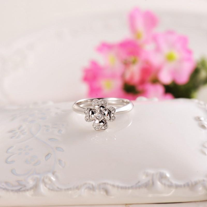 flower ring promise ring on 10k white gold