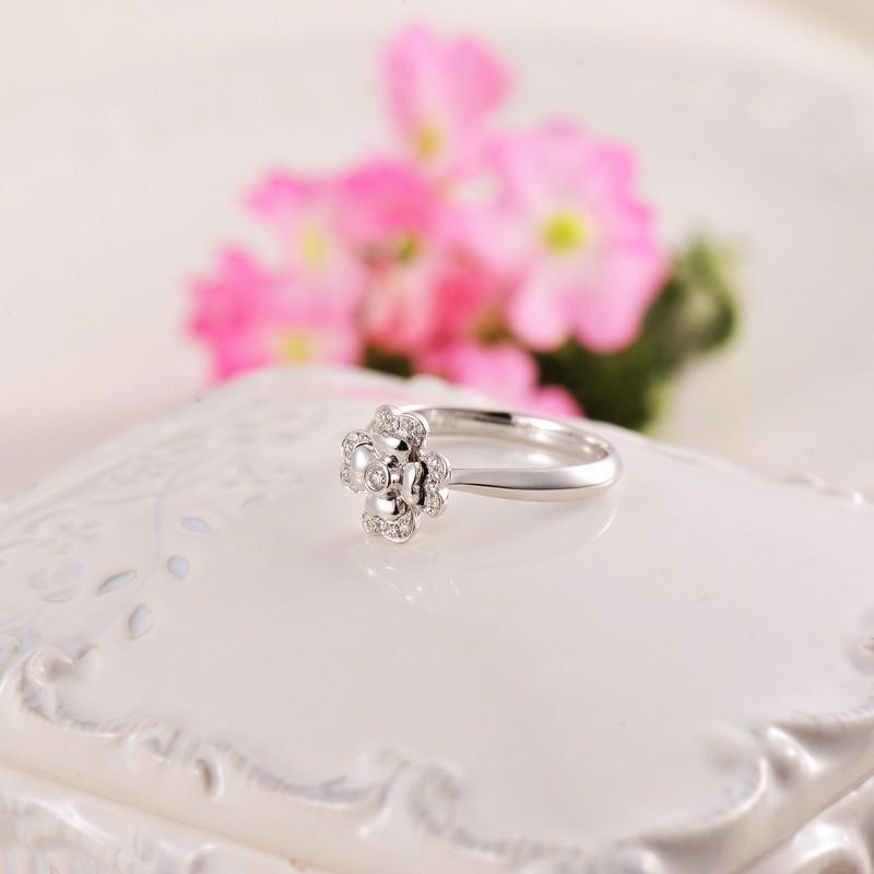 Flower Love Diamond Ring Promise Ring On 10k White Gold